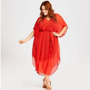 Ravishingly Red Summer Love Plus Size Kaftan